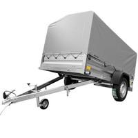 Remorcă Garden Trailer 236 750 KG transport auto în set cu prelată gri H80 și roată de manevră