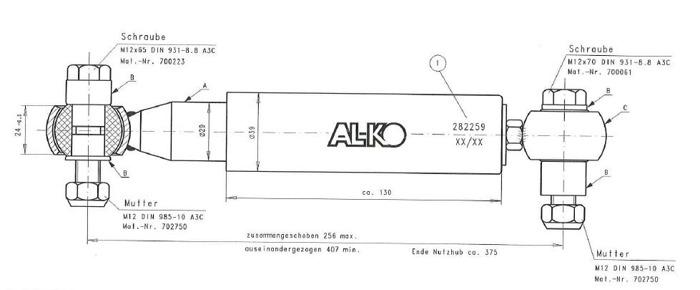 Amortizor pentru remorci auto universal AL-KO Octagon negru 1500 -3000 kg