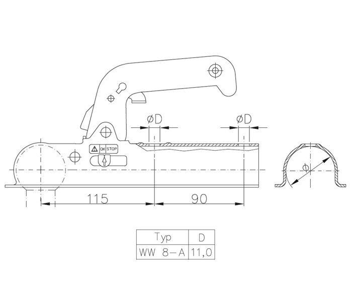 Cuplă remorcare pentru remorci auto Winterhoff WW 8 - A, masa totală maximă autorizată: 800 kg