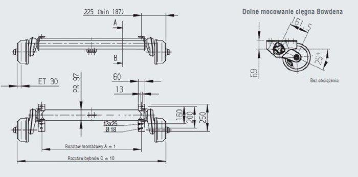 Osie cu frână pentru remorci auto AL-KO 1510 mm 1500 kg 5x112