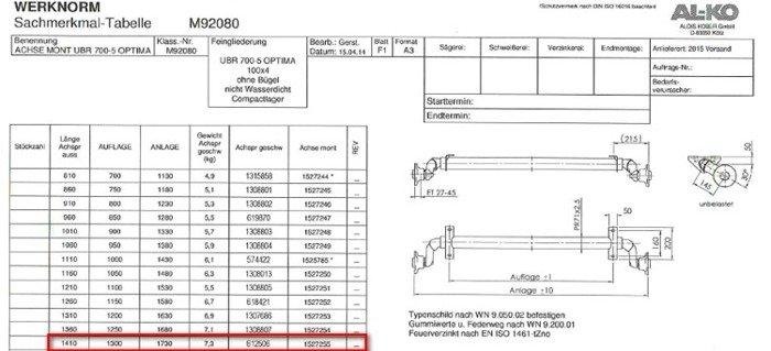 Osie fără frână pentru remorci auto AL-KO optima 1300mm 750kg 100x4