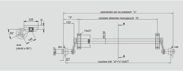 Osie fără frână pentru remorci auto KNOTT VG7 750 kg 1130 mm