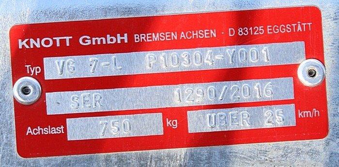 Osie fără frână pentru remorci transport ambarcațiuni Knott VG7-L 750 kg 1190 mm 4x100 W-PROOF