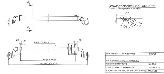 Osie fără frână pentru remorci ușoare de 750 kg AL-KO optima 1000 mm 750 kg 100x4
