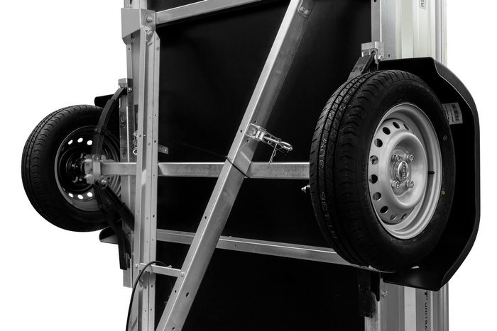 Remorcă auto pe foi de arc 200x125 Garden Trailer 205/R DMC 750 kg cu obloane BIS