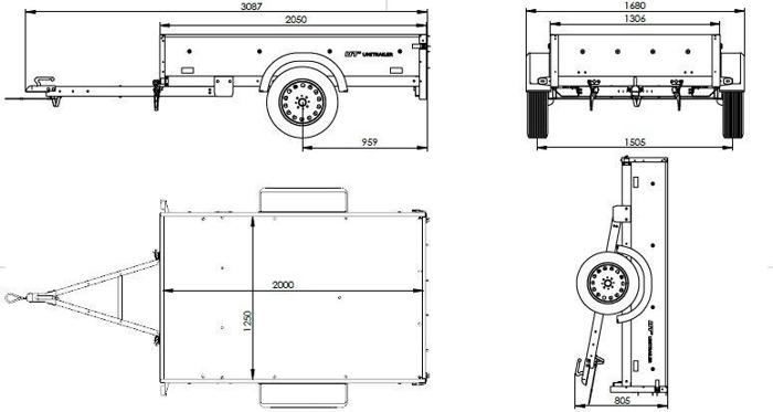 Remorca oblon 200 x 125 MMA 750KG Garden Traler 205 Unitrailer cu extensii obloane și roată de spriijin