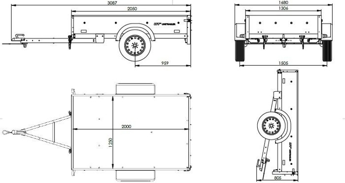 Remorca transport ușoară 200 x 125 cu schelet prelată și prelată MMA 750KG Garden Trailer 205
