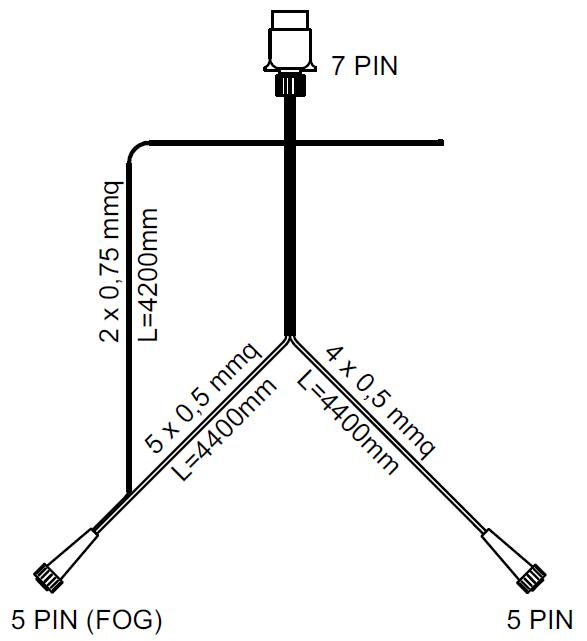 SET: Lămpi spate cu LED Fristom FT-270,  cu cablaj de 4,5 m cu 7-pin