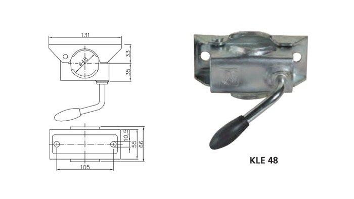 Set: roată de sprijin ST 48-200 VB și clemă 48 Winterhoff