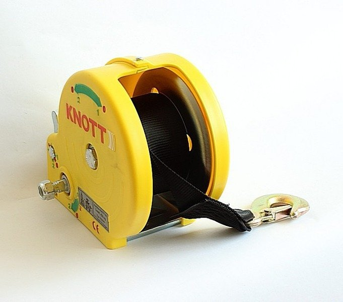 Troliu manual 450 kg cu bandă și carcasă de culoare galbenă Knott